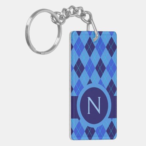 Argyle azul personalizado de la letra inicial del llavero rectangular acrílico a doble cara