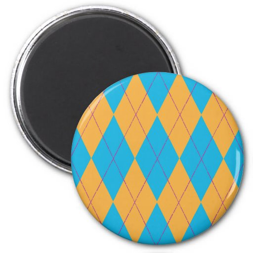 Argyle azul y anaranjado imán redondo 5 cm