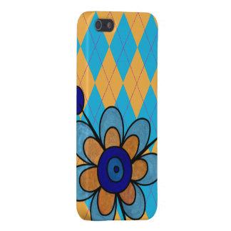 Argyle azul y anaranjado y flor