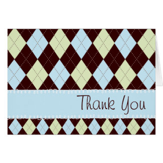 Argyle Baby Blue & Green Thank You Card
