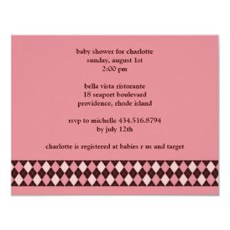 argyle; baby shower custom announcement