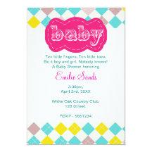 "Argyle Baby Shower Invitation 5"" X 7"" Invitation Card"