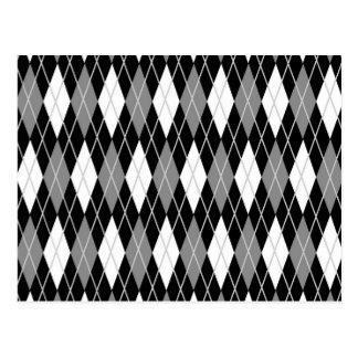 Argyle blanco negro tarjeta postal