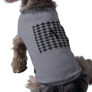 Argyle blanco y gris del monograma camiseta sin mangas para perro