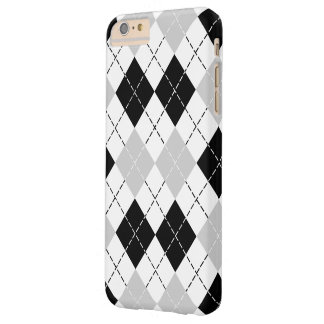 Argyle blanco y gris negro funda para iPhone 6 plus barely there