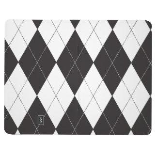 Argyle blanco y negro cuaderno grapado