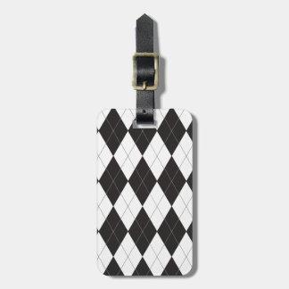 Argyle blanco y negro etiquetas bolsas