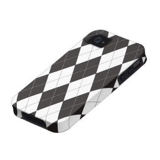 Argyle blanco y negro iPhone 4 carcasa
