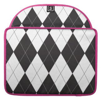 Argyle blanco y negro funda para macbooks