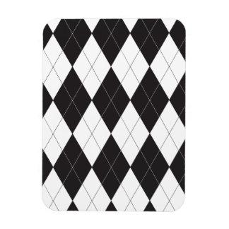 Argyle blanco y negro imanes rectangulares