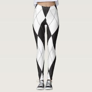 Argyle blanco y negro leggings