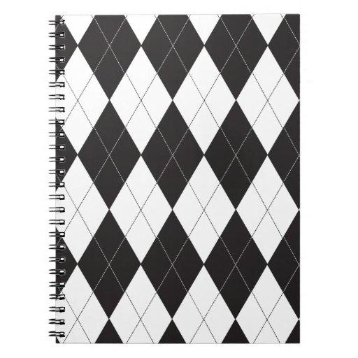 Argyle blanco y negro libros de apuntes