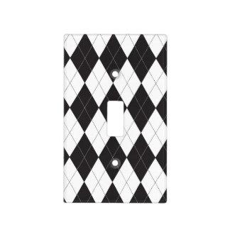 Argyle blanco y negro placas para interruptor