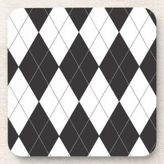 Argyle blanco y negro posavasos