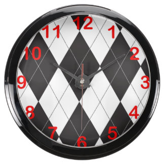Argyle blanco y negro reloj aqua clock