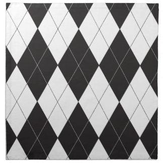 Argyle blanco y negro servilleta imprimida