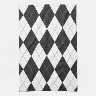 Argyle blanco y negro toallas de mano
