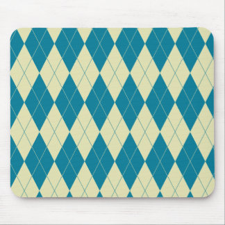 Argyle Blue and White Cream Cool Design Mouse Pad