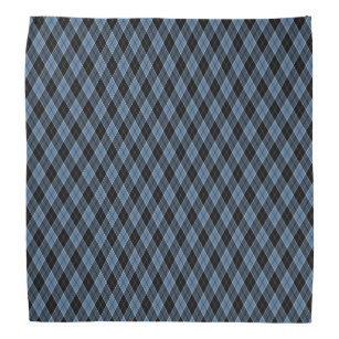 Argyle Blue Black White Stripes Diamond pattern Bandana
