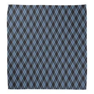 Argyle Blue Black White Stripes Diamond pattern Bandana