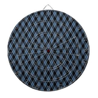 Argyle Blue Black White Stripes Diamond pattern Dartboard