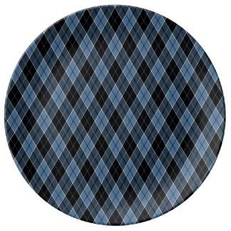 Argyle Blue Black White Stripes Diamond pattern Dinner Plate