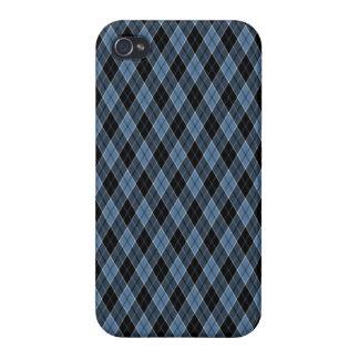 Argyle Blue Black White Stripes Diamond pattern iPhone 4 Cover