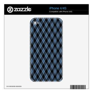Argyle Blue Black White Stripes Diamond pattern iPhone 4 Skin