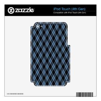 Argyle Blue Black White Stripes Diamond pattern iPod Touch 4G Decal