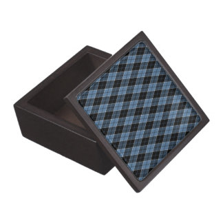 Argyle Blue Black White Stripes Diamond pattern Jewelry Box