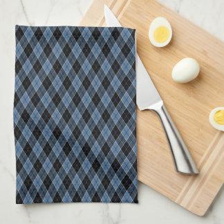 Argyle Blue Black White Stripes Diamond pattern Towel
