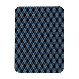 Argyle Blue Black White Stripes Diamond pattern Magnet