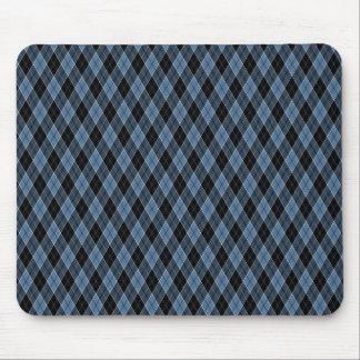 Argyle Blue Black White Stripes Diamond pattern Mouse Pad
