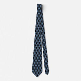 Argyle Blue Black White Stripes Diamond pattern Neck Tie