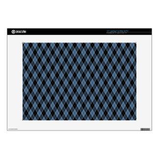 """Argyle Blue Black White Stripes Diamond pattern Skin For 15"""" Laptop"""