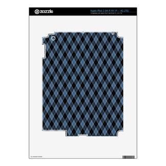 Argyle Blue Black White Stripes Diamond pattern Skin For iPad 3