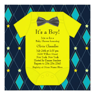 Argyle Blue Yellow Baby Boy Shower Card