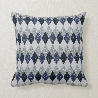 Argyle Blues Silver Shimmer Faux Glitter - All Opt Throw Pillow