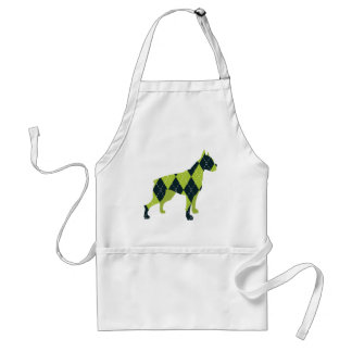 Argyle Boxer Dog in Blue and Green Adult Apron