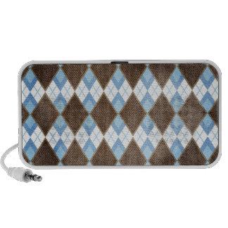Argyle Brown/Blue Travel Speakers