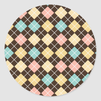 Argyle Brown Yellow Blue Pink Classic Round Sticker