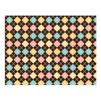 Argyle Brown Yellow Blue Pink Postcard