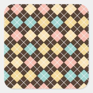 Argyle Brown Yellow Blue Pink Square Sticker