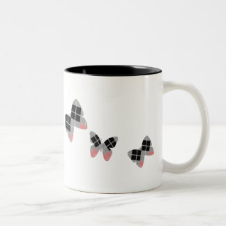 Argyle Butterflies and Moths Two-Tone Coffee Mug