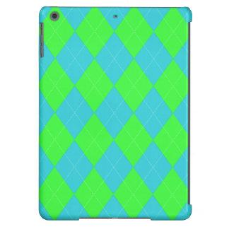 Argyle, caja del aire del iPad del Azul-Neón