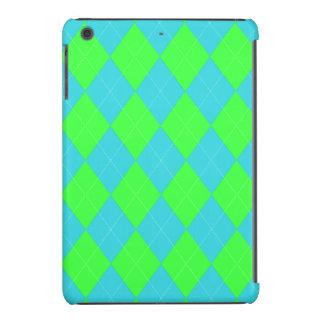 Argyle, caso del iPad del Azul-Neón mini Fundas De iPad Mini Retina