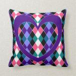 Argyle con el corazón púrpura cojines