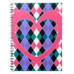 Argyle con el corazón rosado libros de apuntes con espiral