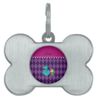 Argyle conocido personalizado de la púrpura del placas de nombre de mascota
