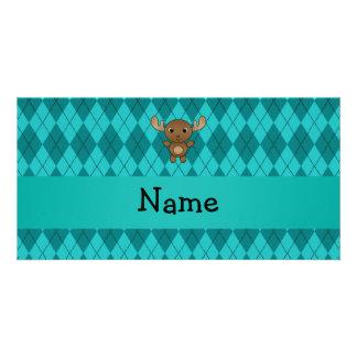 Argyle conocido personalizado de la turquesa de lo plantilla para tarjeta de foto